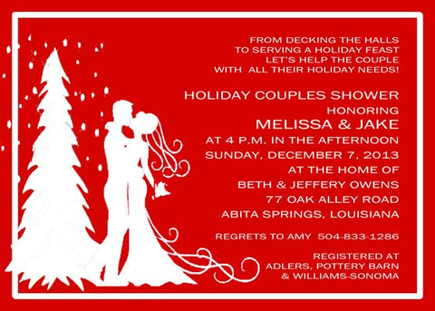 SILHOUETTE WEDDING COUPLE AND TREE CUSTOM INVITATION