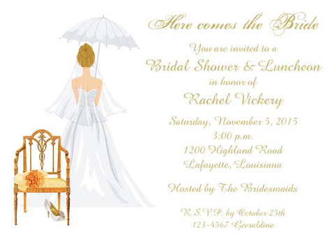 CHAIR WITH BRIDE'S SHOES AND BOUQUET CUSTOM INVITATION