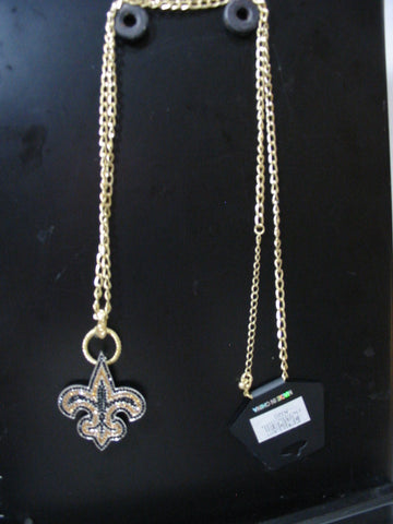 BLACK/GOLD FLEUR DE LIS NECKLACE AND PIN