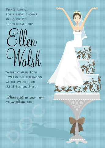 BLUE CAKE BRIDE - BLANK STOCK INVITATION