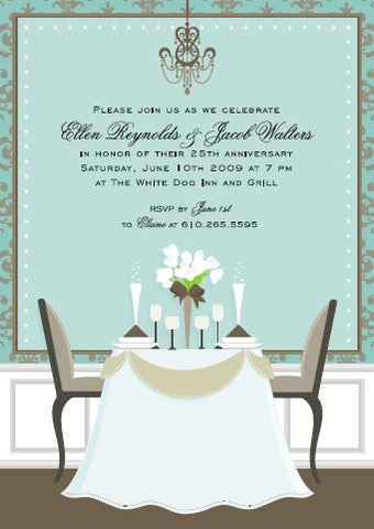 AQUA DINNER TABLE - BLANK STOCK INVITATION
