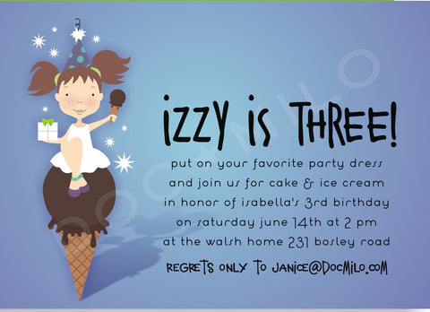 BIRTHDAY GIRL ON ICE CREAM CONE - BLANK STOCK INVITATION