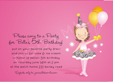 BALLERINA BIRTHDAY PINK - BLANK STOCK INVITATION