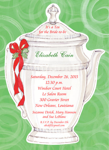 HOLLY TEAPOT - BLANK STOCK INVITATION