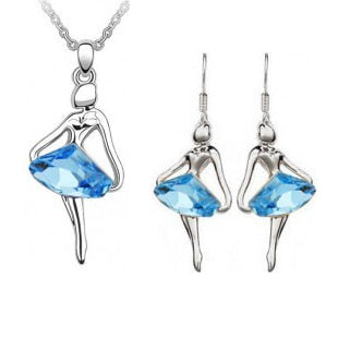 Austria Crystal Blue Ballet Necklace Set