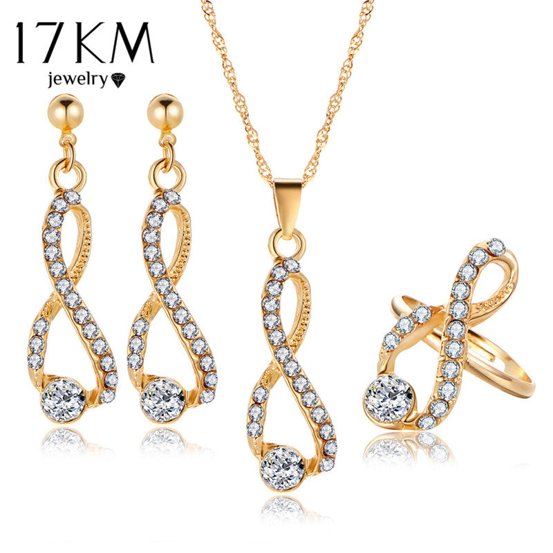 Infinite Earrings Gold Color Rings