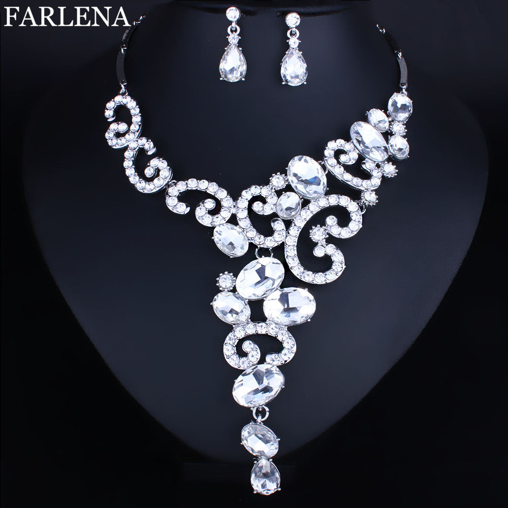Silver plated Crystal Rhinestones Jewelry Set