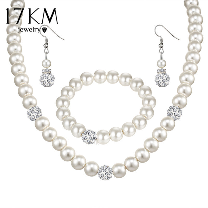Sliver Color Simulated Pearl Jewelry Set