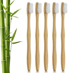 5 Piece Flat Handle Bamboo Toothbrush - The Wooden Toothbrush Shop