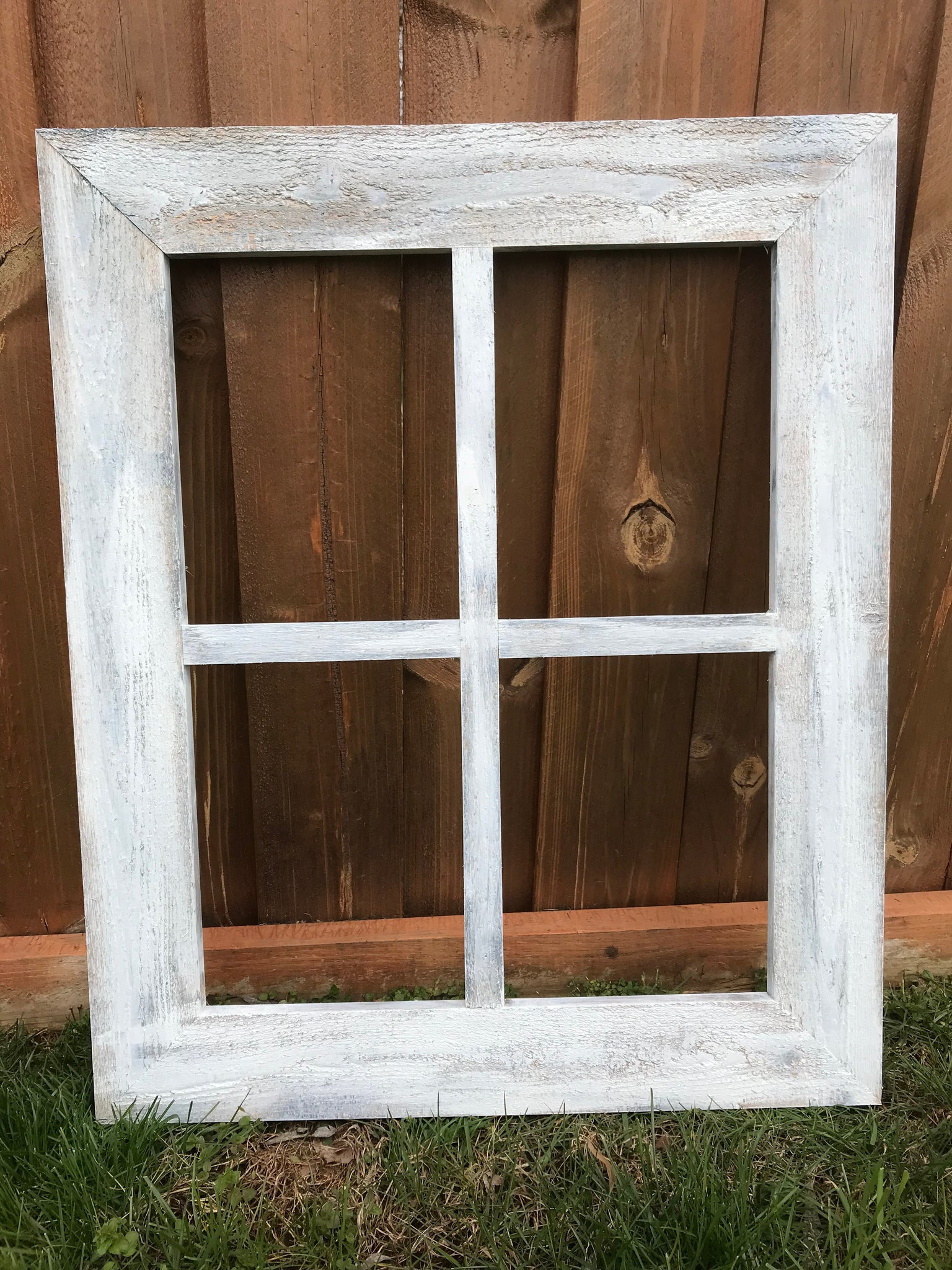Rustic Window Frame - 4 Pane Wide Frame Vintage Distressed Window ...