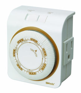 Indoor 24-Hour Mechanical Outlet Timer, Daily Settings - Farm Nevada - Gardeners Start Here