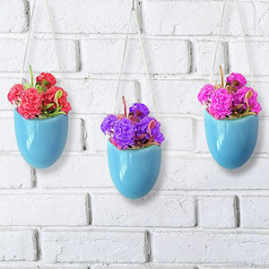 Modern Ceramic Hanging Planters, Succulent Plant Pots, Set of 3, White - Farm Nevada - Gardeners Start Here