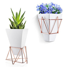 Love-KANKEI Wall and Desk Planters Vase White Ceramic and Copper - Succulent Air Plants Mini Cactus Artificial Flowers Hanging Geometric Wall Decor Planter Pots - Farm Nevada - Gardeners Start Here