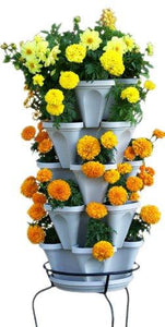 5 Tier Stackable Strawberry, Herb, Flower, and Vegetable Planter  - Vertical Garden Indoor / Outdoor - Farm Nevada - Gardeners Start Here