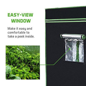 "48""x24""x60"" Mylar Hydroponic Grow Tent with Observation Window and Floor Tray for Indoor Plant Growing 2'x4' - Farm Nevada - Gardeners Start Here"