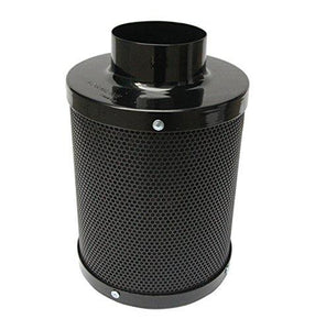 "Carbon Filter -4 inch- by Formline Supply - Charcoal Scrubber Provides Odor Control for Grow Tent Kit Ventilation while Maintaining Inline Fan Air Flow - Reversible Flange- 4""x12""- Pre-Filter Included - Farm Nevada - Gardeners Start Here"