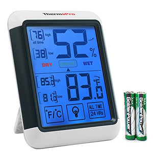 ThermoPro TP55 Digital Hygrometer Indoor Thermometer Humidity Gauge with Jumbo Touchscreen and Backlight Temperature Humidity Monitor - Farm Nevada - Gardeners Start Here