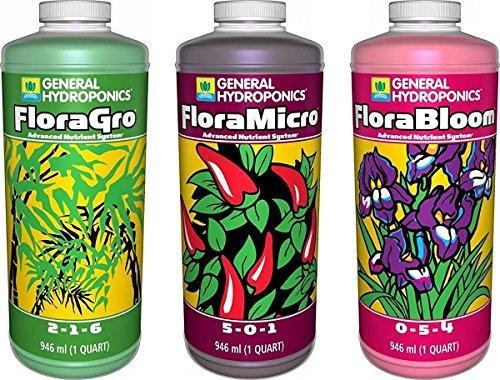 General Hydroponics Flora Grow, Bloom, Micro Combo Fertilizer set, 1 Quart (Pack of 3) - Farm Nevada - Gardeners Start Here