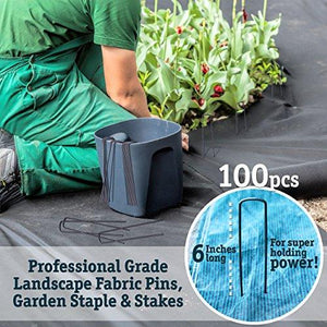 100 6-Inch Garden Landscape Staples Stakes Pins - USA Strong Pro Quality Built to Last. Weed Barrier Fabric, Ground Cover, Soaker Hose, Lawn Drippers, Irrigation Tubing, Wireless Invisible Dog Fence - Farm Nevada - Gardeners Start Here