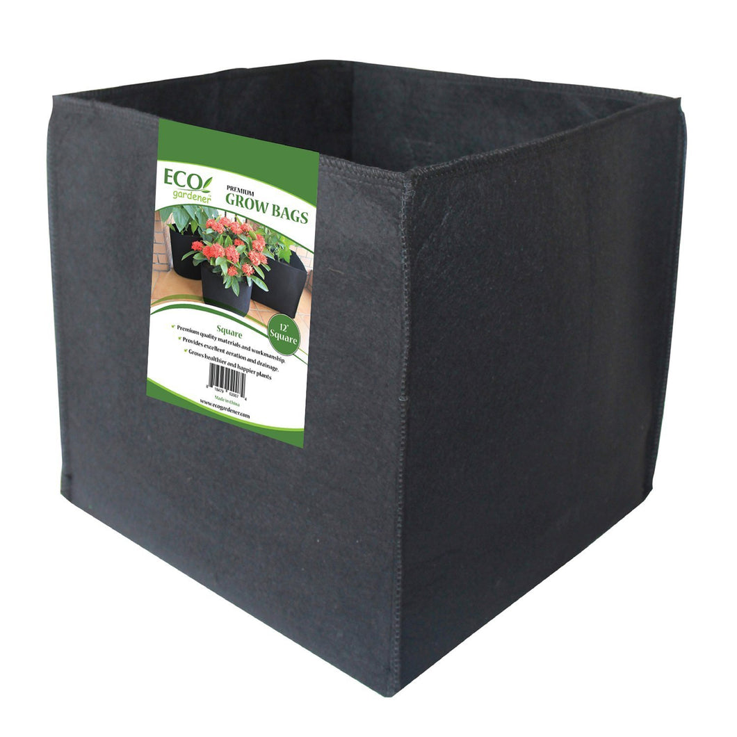 ECOgardener Grow Bags Square Foot Planter Raised Bed Fabric Pot - 12