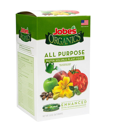Jobe's Organics All Purpose Fertilizer 5-2-3 Water Soluble Plant Food Mix with Biozome, 20 oz Box Makes 60 Gallons of Organic Liquid Fertilizer - Farm Nevada - Gardeners Start Here