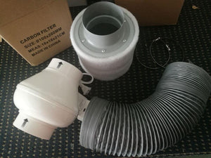 "4"" Inline Exhausting Fan & Carbon Air Filter&Ducting for Complete Grow Tent Kits Plant Growing - Farm Nevada - Gardeners Start Here"