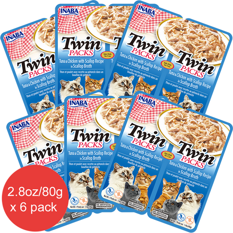 Twin Packs Tuna & Chicken with Scallop Recipe in Scallop Broth (Contains 6 packs)