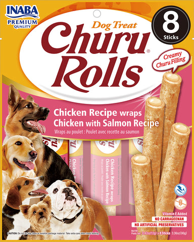 Dog Churu Rolls - Chicken with Salmon(1 Pack / 8 Sticks)