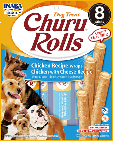 Dog Churu Rolls - Chicken with Cheese (1 Pack / 8 Sticks)