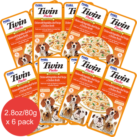 Dog Twin Packs Chicken with Vegetables & Beef Recipe in  Chicken Broth
