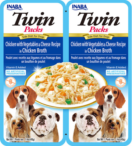 Dog Twin Packs Chicken with Vegetables & Cheese Recipe in Chicken Broth (Single Pack Only)