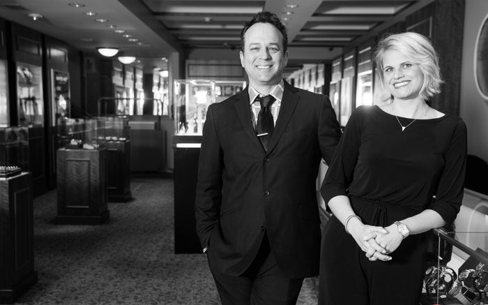 Bob and Jacci Strehlau owners of Bove jewelers located in Kennett Square Pennsylvania. A fine jewelry store that sells designer jewelry including watches from Seiko, Wewood, Avi8, Pre-owned Breitling, rolex Tag Heuer.