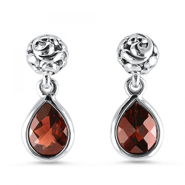 Ivy Bead Drop Garnet Earrings