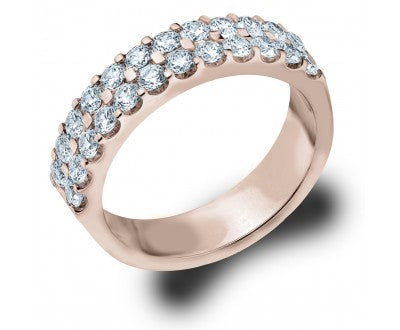 Two Row Shared Prong Rose Gold Diamond Band