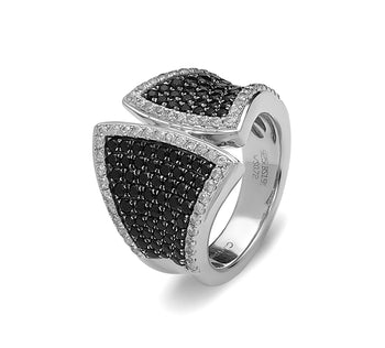 Black and White Sapphire Pave Ring