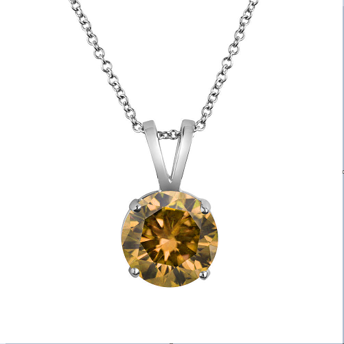 .68ct Round Cognac Diamond Pendant Necklace