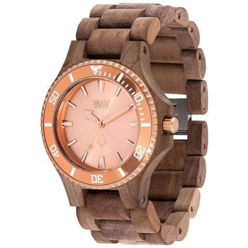 WeWood Date Rough Metal/Walnut Wood Watch | Nut/Rose Gold