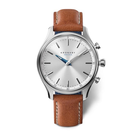 Sekel 38mm Steel - Silver, Brown Leather
