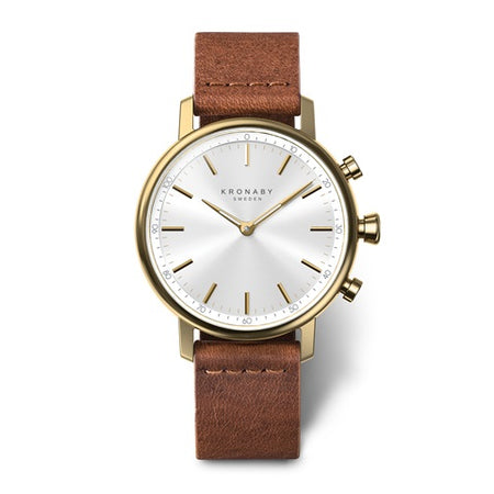 Carat 38mm Gold - White, Brown Leather