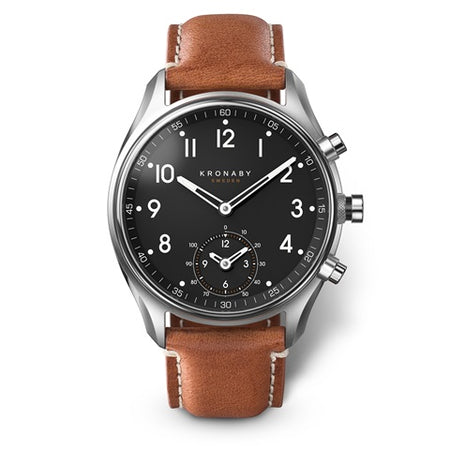 Apex 43mm Steel - Black, Brown Leather