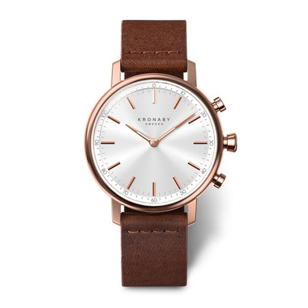 Carat 38mm Rose - White, Dark Brown Leather