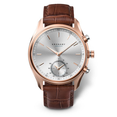 Sekel 43 mm Rose - Silver, Brown Leather