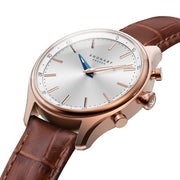 Sekel 38 mm Rose - Silver, Brown leather