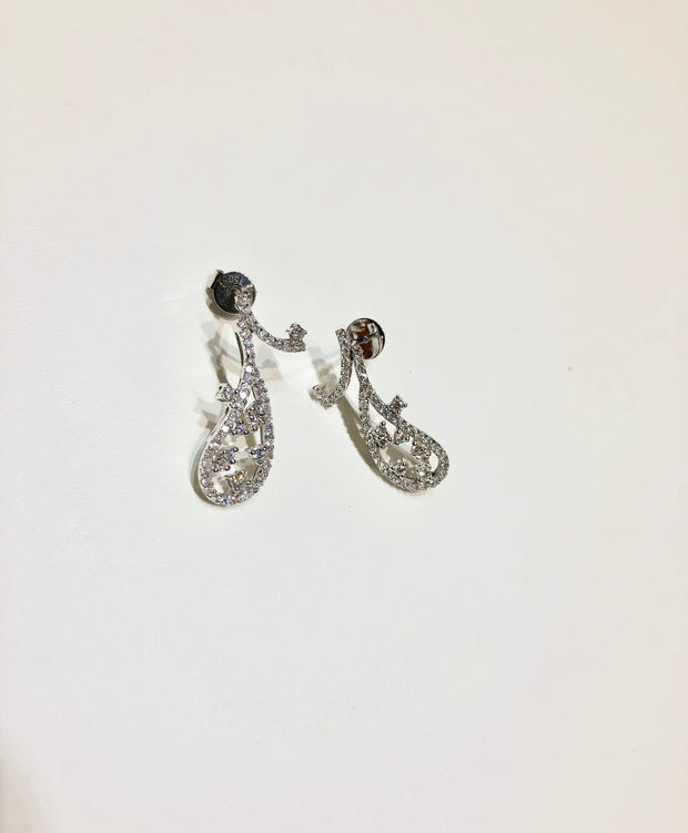 Paisley Diamond Drop Earrings