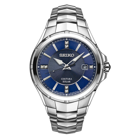 Seiko Coutura Solar Powered Watch with Sapphire Crystal, Diamond Accents