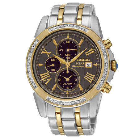 Seiko Le Grand Sport Solar Diamonds Two-Tone Mens Watch