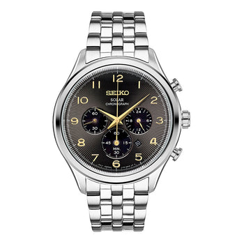 Seiko Classic Stainless Steel Solar Chronograph Mens Watch