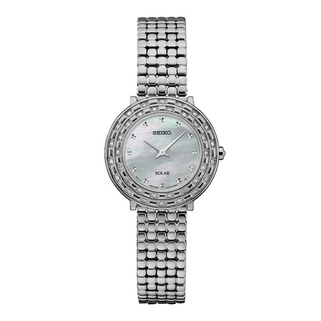Seiko Tressia Solar Dress Watch with 36 Diamonds, Mother of Pearl Dial