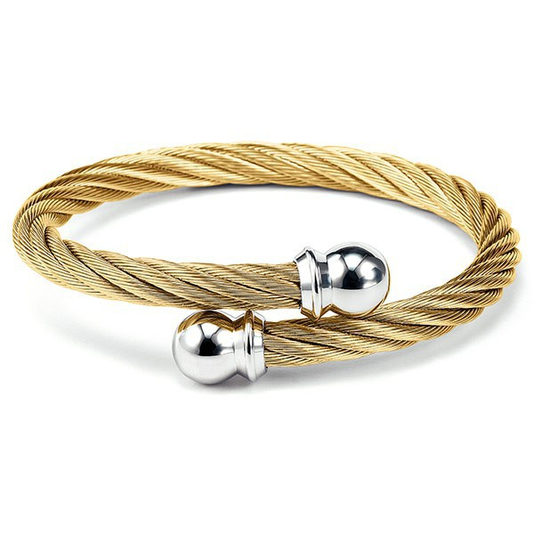 Celtic Stainless Steel Yellow Gold PVD Bangle