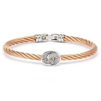 Les Débutantes Stainless Steel & Rose Gold PVD Bangle